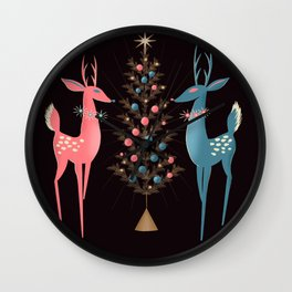 Midcentury Pink And Aqua Holiday At The North Pole Wall Clock