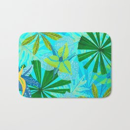 My blue abstract Aloha Tropical Jungle Garden Bath Mat