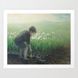 Young Boy at Play in the Garden Art Print