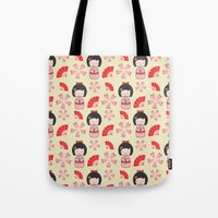 mini Tote Bags featuring Mini Geisha by Vickn