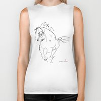 wind Biker Tanks featuring Horse (Wind) by Paper Horses