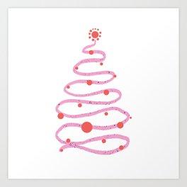 Pink doodle Christmas tree Art Print