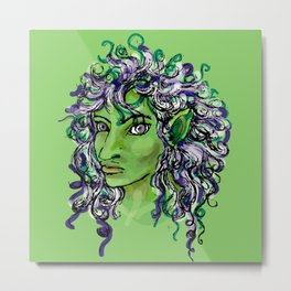 Female elf profile 1e Metal Print