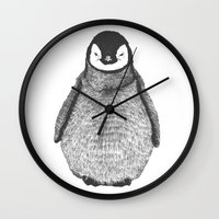 penguin Wall Clocks featuring penguin by barmalisiRTB