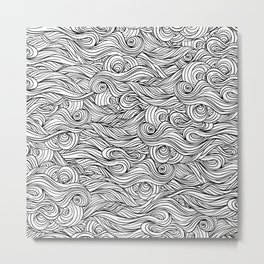 Seamless black and white abstract hand-drawn pattern with waves Metal Print