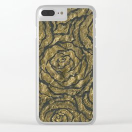 Intense Rose Print on Textured Canvas Clear iPhone Case