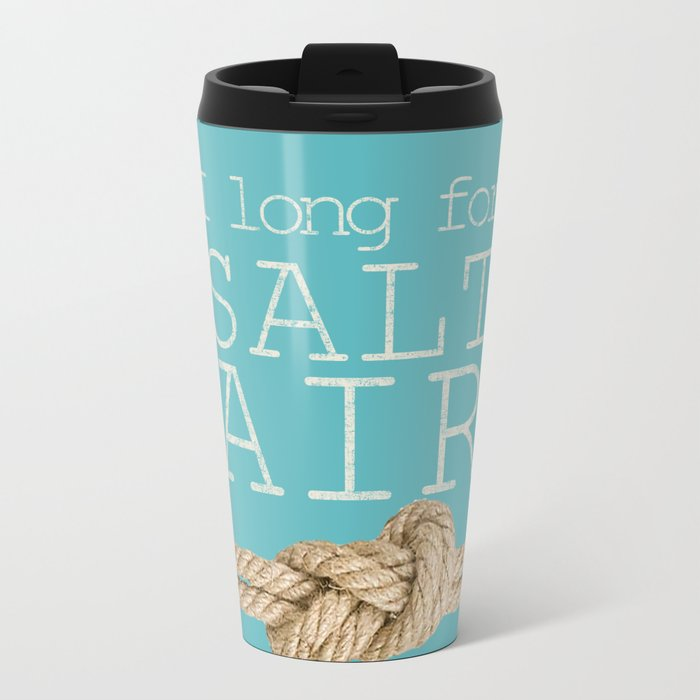 Beach Series Aqua - Beach Saying on turquoise background 2 on #Society6 Metal Travel Mug