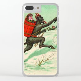 The Krampus stealing a child Clear iPhone Case