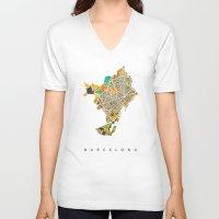 barcelona V-neck T-shirts featuring Barcelona by Nicksman