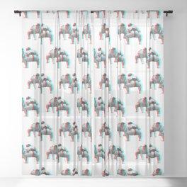3D Sumo Wrestlers (pattern) Sheer Curtain
