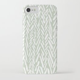 Light green herringbone pattern with cream stripes iPhone Case
