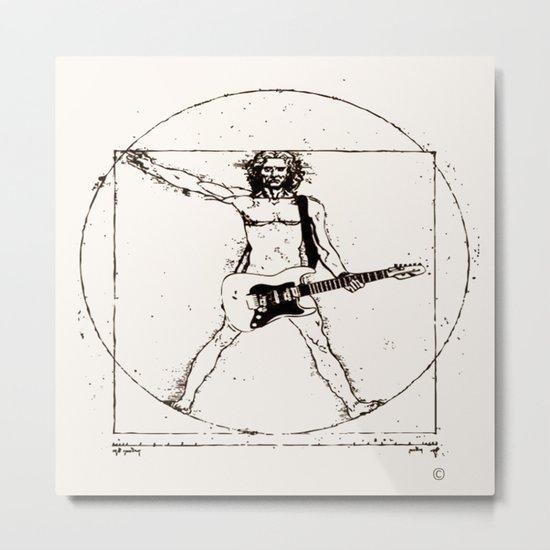 Guitar Man and Da Vinci Metal Print