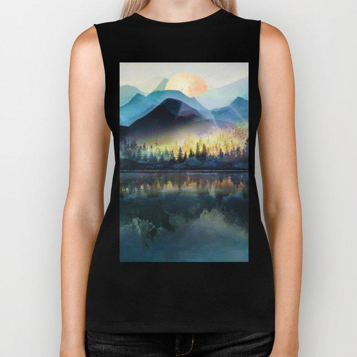 Mountain Lake Under Sunrise Biker Tank
