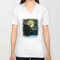 agnes V-neck T-shirts featuring The Moon and the Tree. by Viviana Gonzalez