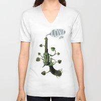 gun V-neck T-shirts featuring Gun by mariotarrago