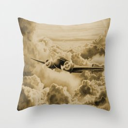 Ghost Flight- Amelia Earhart Sepia Throw Pillow