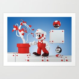 Superskull Fire Mario Art Print