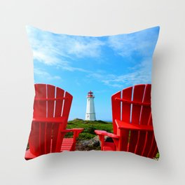 Lighthouse and chairs in Red White and Blue Throw Pillow