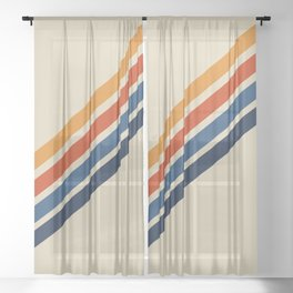 Retro 70s Stripe Colorful Rainbow Tan Classic Vintage Sheer Curtain
