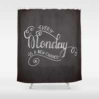 motivational Shower Curtains featuring Poster with motivational quote by Olly Dolly Design