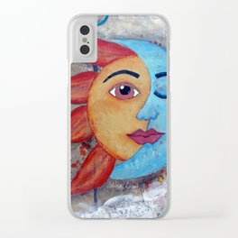 Soluna, Sun and Moon Mixed media Painting Clear iPhone Case