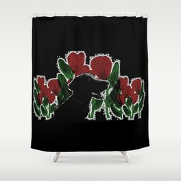 Black Lab In A Flower Garden Shower Curtain