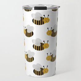 Bee pattern print white honey bees nature inspired cute nursery kids gender neutral pattern Travel Mug