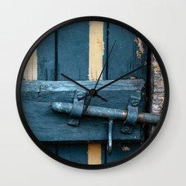 Old blue wooden farm doors Wall Clock