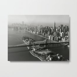View South Queensboro Bridge from Upstream Side, East River - Queensboro Bridge, Spanning East river & Blackwell's Island, New York Skyline photograph Metal Print