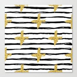 Gold glitter cross and black stripe Canvas Print