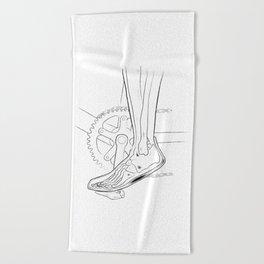 The anatomy of biking Beach Towel