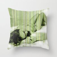 naked Throw Pillows featuring Naked by Cesar Peralta
