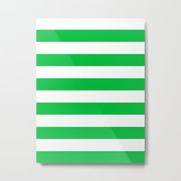 Horizontal Stripes - White and Dark Pastel Green Metal Print