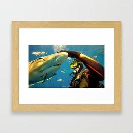 Shark Bite Diving Framed Art Print