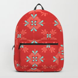 Red Background with Coral and Aqua Flower Pattern Backpack