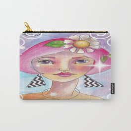 Whimiscal Girl with Pink Hair Enhanced Carry-All Pouch