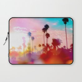 palm tree with sunset sky and light bokeh abstract background Laptop Sleeve