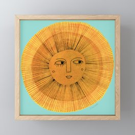 Sun Drawing Gold and Blue Framed Mini Art Print