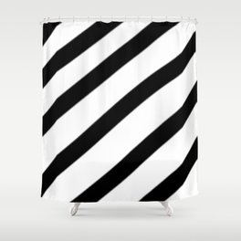 Soft Diagonal Black and White Stripes Shower Curtain