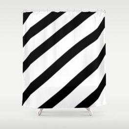 Soft Diagonal Black and White Stripes Shower Curtain