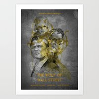 wolf of wall street Art Prints featuring The Wolf of Wall Street  by Becca Kelly