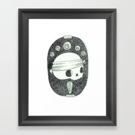 Five of Coins Skeleton Tarot Framed Art Print