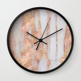 Aprillia - rose gold marble with gold flecks Wall Clock