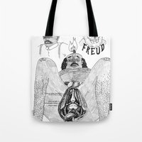 freud Tote Bags featuring Freud. by Philip Dearest