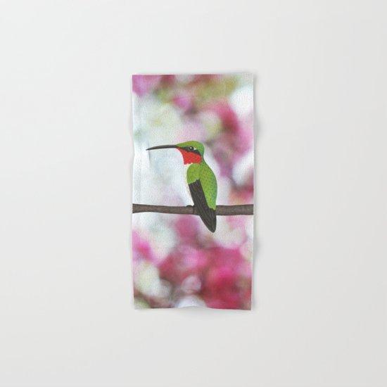 ruby throated hummingbird - male on pink bokeh Hand & Bath Towel