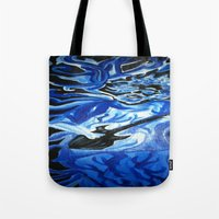 grateful dead Tote Bags featuring Jerry Garcia Blues Acrylic Painting Grateful Dead by Acorn
