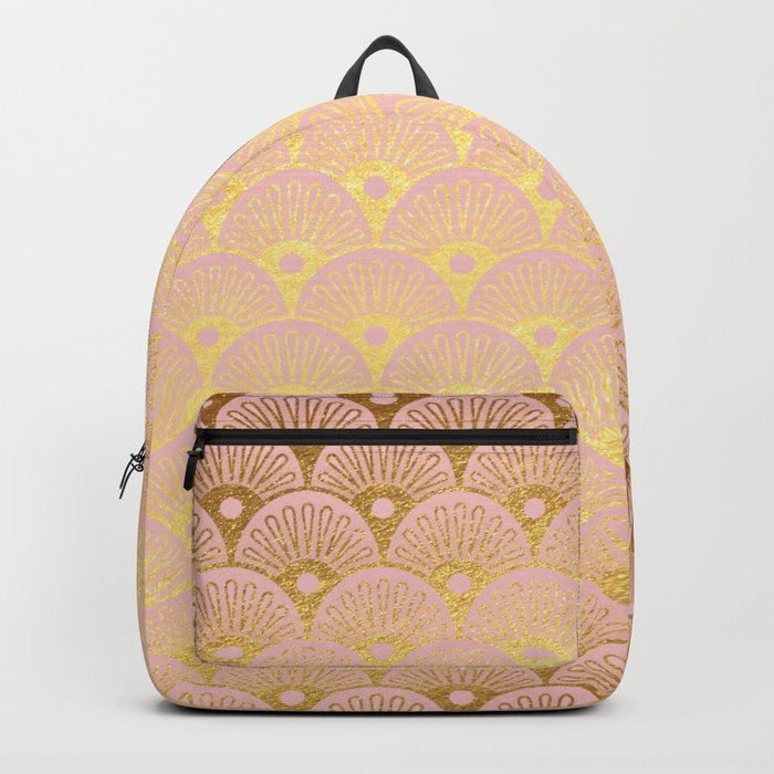 Gold and pink sparkling Mermaid pattern Backpack