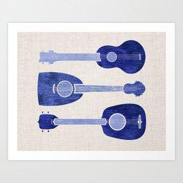 Indigo Blue Ukuleles Art Print