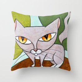 Sweet Gray Kitty Throw Pillow