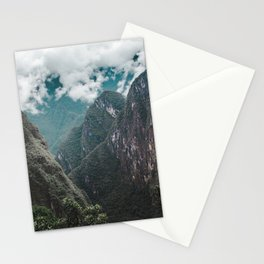 Blue morning mist over the Andes mountains and river near Machu Picchu, Peru Stationery Cards